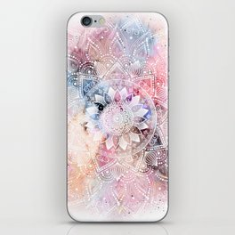 Whimsical white watercolor mandala design iPhone Skin