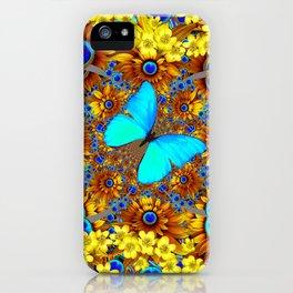 OPULENT YELLOW FLOWERS & BLUE SATIN BUTTERFLY ART iPhone Case