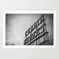 City Architecture Sign Seattle Pike Place Market at Dawn Black and White Vintage Art Print