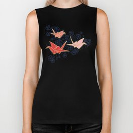 Red origami cranes on navy blue Biker Tank