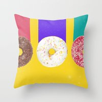 donuts Throw Pillows featuring Donuts by Danny Ivan
