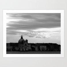 Giudecca at sundown in black and white Art Print