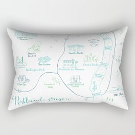 Portland, Oregon Illustrated Calligraphy Map Rectangular Pillow