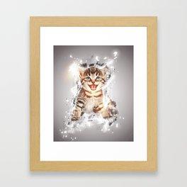 Glowing cat Framed Art Print