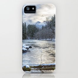 Morning on the McKenzie River Between Snowfalls iPhone Case
