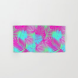 Neon Pink & Blue Tropical Print Hand & Bath Towel