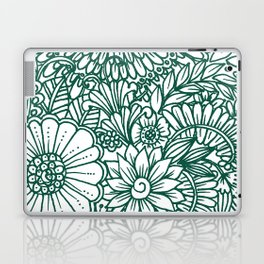 Hand drawn forest green white modern floral Laptop & iPad Skin