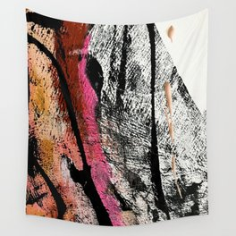 Motivation [2] : a colorful, vibrant abstract piece in pink red, gold, black and white Wall Tapestry