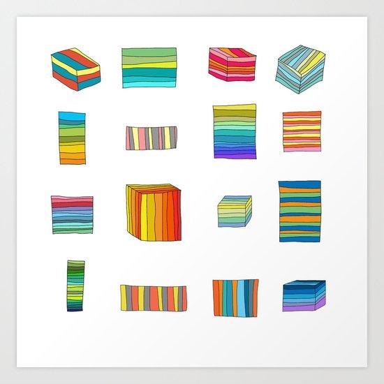 Sixteen Striped Boxes Art Print