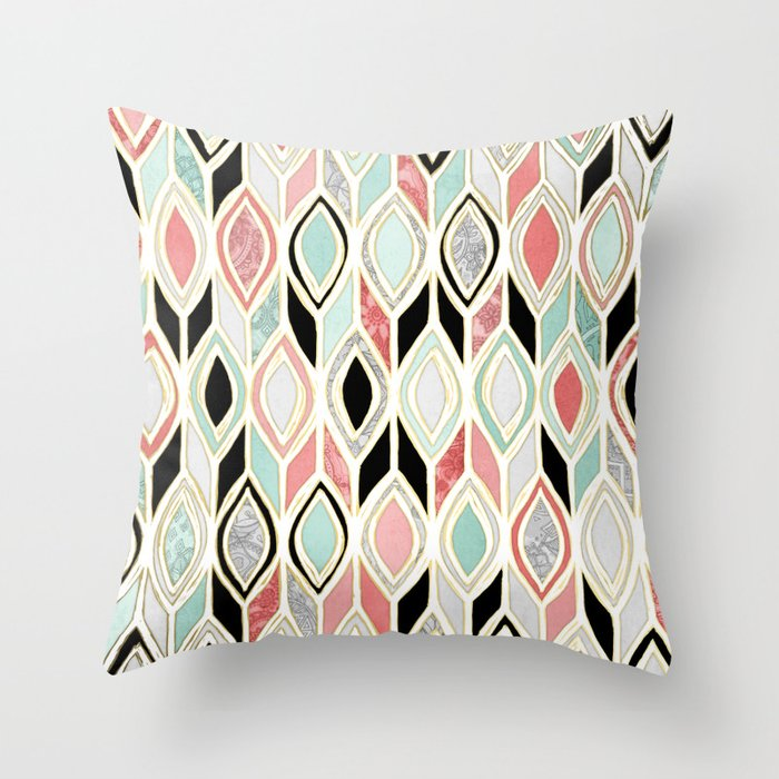 Patchwork Pattern in Coral, Mint, Black & White Throw Pillow