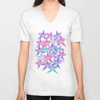 hawaiian V-neck T-shirts featuring Hawaiian flowers by Marta Olga Klara