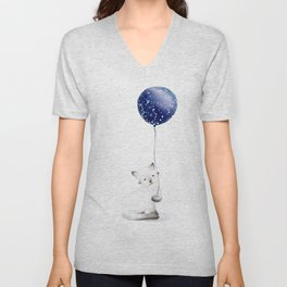 Cat With Balloon Unisex V-Neck