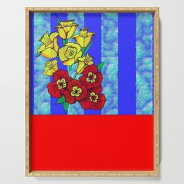 Blue and Red Floral pattern Serving Tray
