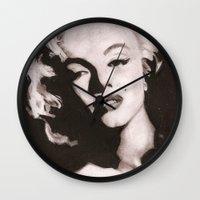 monroe Wall Clocks featuring Monroe by Juliana Marie