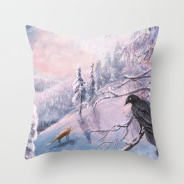 Frosty Pink Winter Scene Throw Pillow