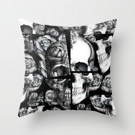 Broken up rose skull illustration in black and white.  Throw Pillow