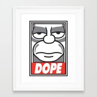 homer Framed Art Prints featuring Dope Homer by MaNia Creations