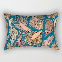 Navy and Orange Free Flow print Rectangular Pillow
