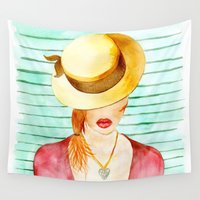hat Wall Tapestries featuring Mysterious Hat by Marina Barbato