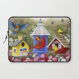 Birds and Colorful Bird Houses Laptop Sleeve