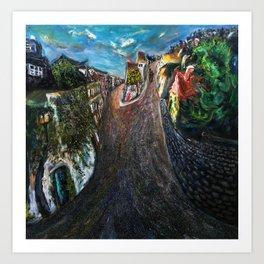 Pontoise (oil on canvas) Art Print