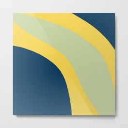 Navy Blue, Yellow and Sage Abstract Shapes Metal Print
