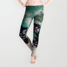 Lost Chromosome - Mixed Media Beeswax Encaustic Abstract Modern Art, 2015 Leggings