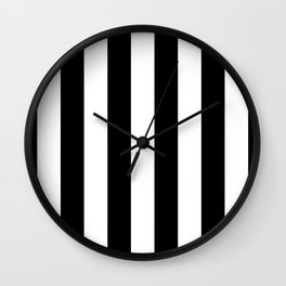 Midnight Black and White Vertical Cabana Tent Stripes Wall Clock