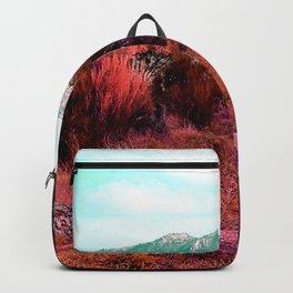 Red bright pink and orange alien landscape Backpack