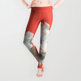 Blue Heart Lilies on Living Coral Leggings