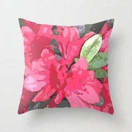 Crimson Azaleas Throw Pillow