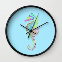 seahorse Wall Clocks featuring Seahorse by nessieness