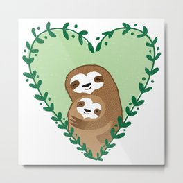 The Family Sloth Metal Print