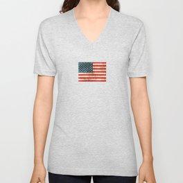 Vintage Aged and Scratched American Flag Unisex V-Neck