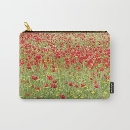 Meadow With Beautiful Bright Red Poppy Flowers  Carry-All Pouch
