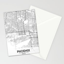 Minimal City Maps - Map Of Phoenix, Arizona, United States Stationery Cards