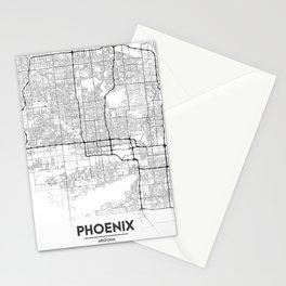 Minimal City Maps - Map Of Phoenix, Arizona, United States Stationery Cards