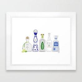 Tequila Bottles Illustration Framed Art Print