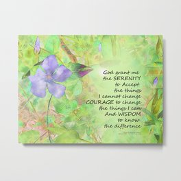 Serenity Prayer Vinca Glow Metal Print