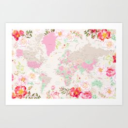 Pastel floral watercolor world map with cities Kunstdrucke