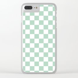 Gingham Nebula Pastels Green Mint Checked Pattern Clear iPhone Case