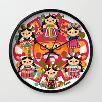 mexican Wall Clocks featuring Mexican Dolls by Alapapaju