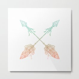 Arrows Turquoise Coral on White Metal Print
