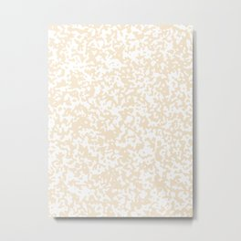Small Spots - White and Champagne Orange Metal Print