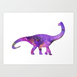Dinosaur Brachiosaurus Art Print Wild Animals Nursery Decor Kids Room Watercolor Pint Purple Art Art Print