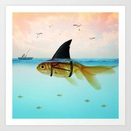 goldfish with a shark fin Art Print
