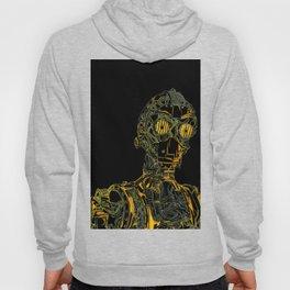 Geometric Black and Gold Robot Hoody