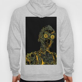 Geometric Black and Gold Robot Hoody