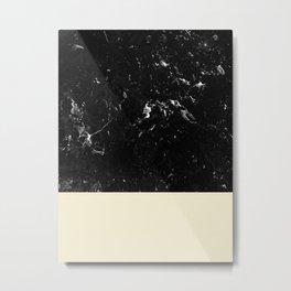 Light Blush Yellow Meets Black Marble #1 #decor #art #society6 Metal Print