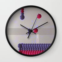 nail polish Wall Clocks featuring Nail Polish Glitch by Marie Mars